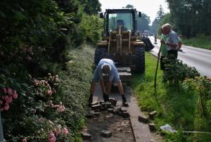 Bau des Fahrradweges in Westbevern Dorf. Beginn der Arbeiten am 25.07.2016.