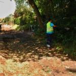 Bau des Fahradweges im Dorf am10.08.2016.