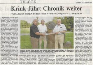 Franz Drücker übergibt symbolisch seine Forschungen zur Geschichte an den Westbeverner Krink