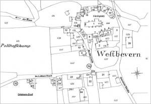 Westbevern-Dorf, Ortskern mit nachgetragenen Hausnummern der Gebäude bis 1900 (Ausschnitt aus       dem Urkataster von 1829)