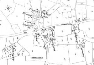 Vadrup, Ortskern mit nachgetragenen Hausnummern der Gebäude bis 1900 (Ausschnitt aus dem  Urkataster von 1829)