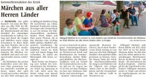Märchenerzählerin Hildegard Markfort auf dem Schulhof in Vadrup